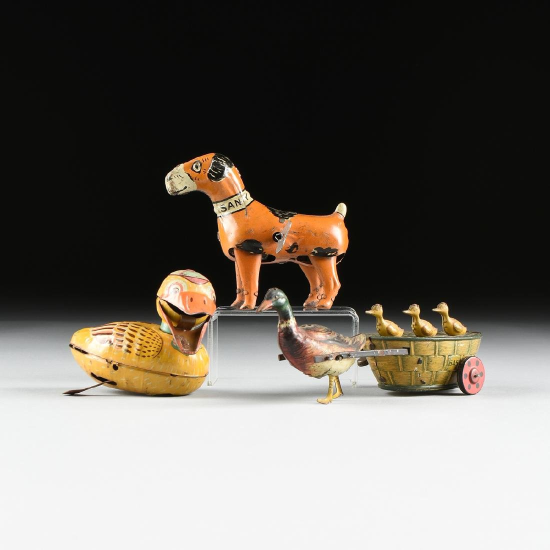 A GROUP OF THREE ANIMAL TIN LITHOGRAPHED CHILD'S ACTION