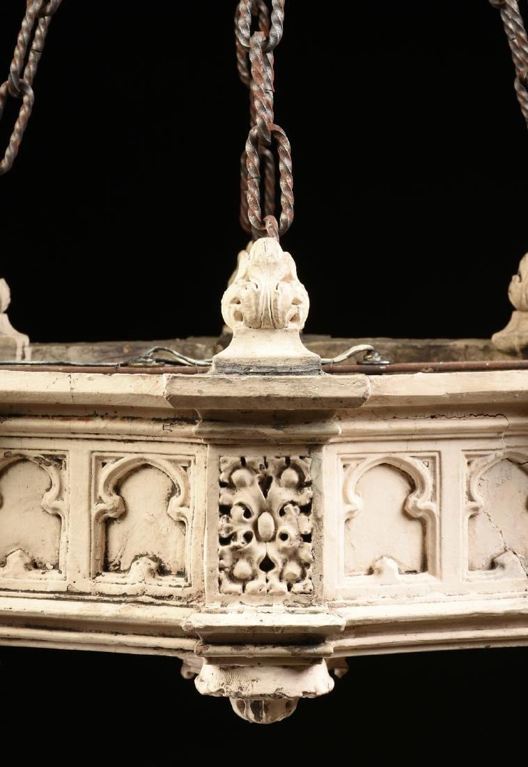 A PAIR OF NEO GOTHIC REVIVAL WHITE PAINTED TERRACOTTA - 3