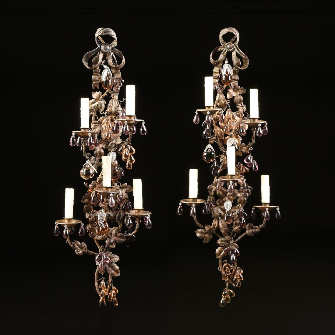 A PAIR OF CONTINENTAL GLASS MOUNTED SIX LIGHT GILT