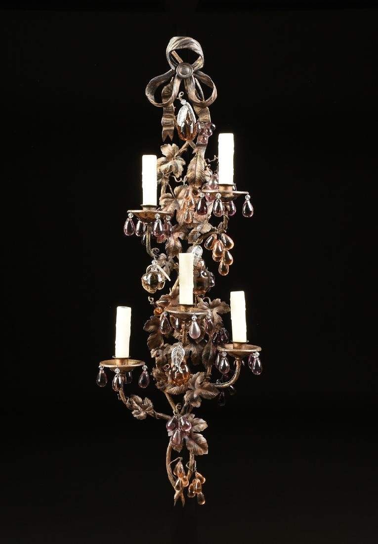 A PAIR OF CONTINENTAL GLASS MOUNTED SIX LIGHT GILT - 2