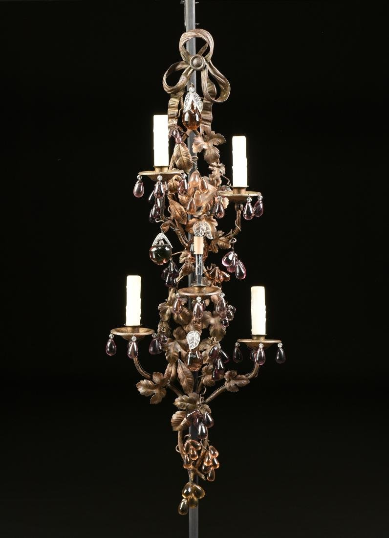 A PAIR OF CONTINENTAL GLASS MOUNTED SIX LIGHT GILT - 3