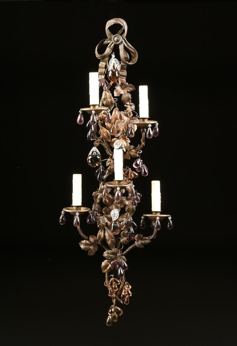A PAIR OF CONTINENTAL GLASS MOUNTED SIX LIGHT GILT - 4