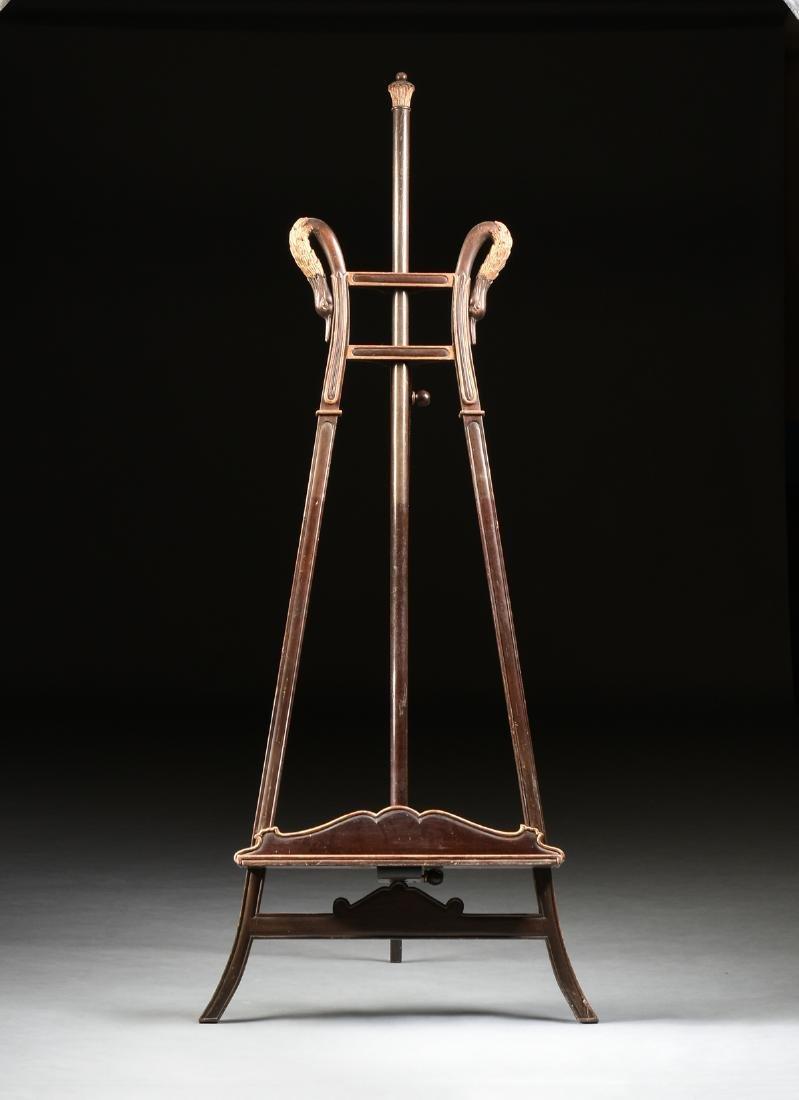 AN ART NOUVEAU PARCEL GILT MAHOGANY EASEL, 1890-1910, - 2
