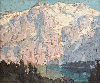 """EDGAR PAYNE (American 1883-1947) A PAINTING, """"Pink and"""