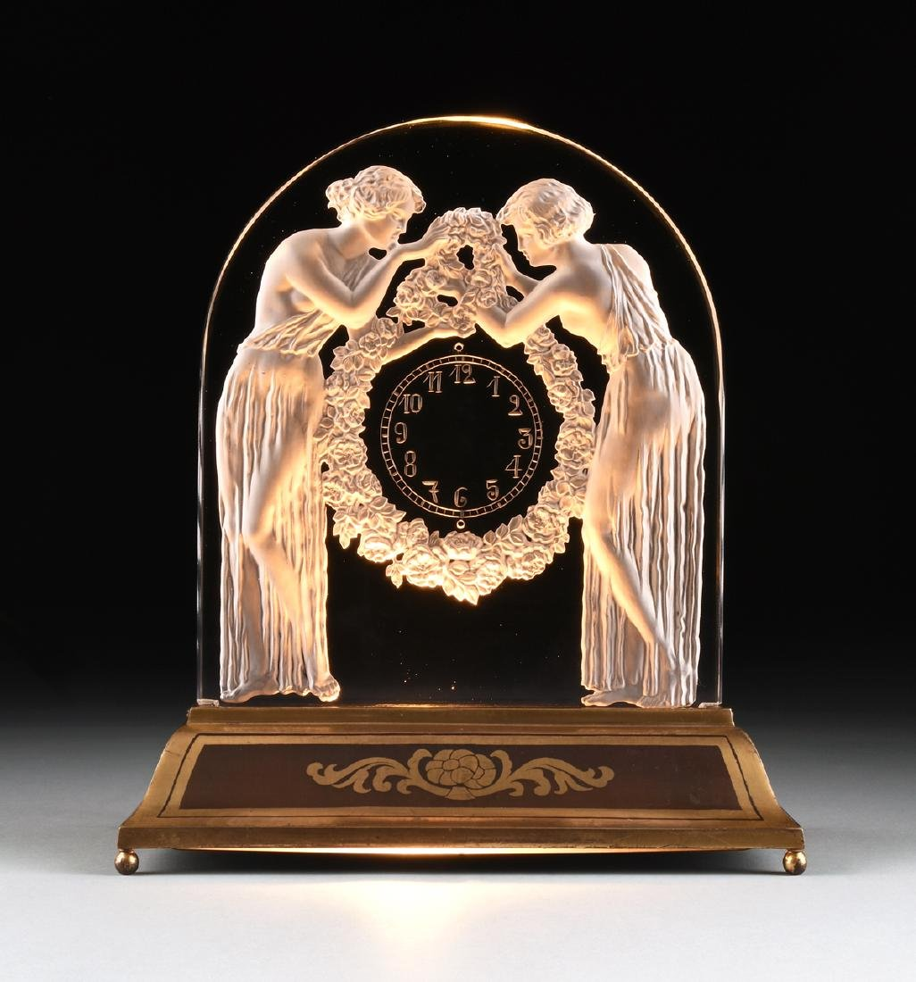 "AN ART DECO FROSTED GLASS CLOCK, ""Deux Figurines,"" RENÉ"