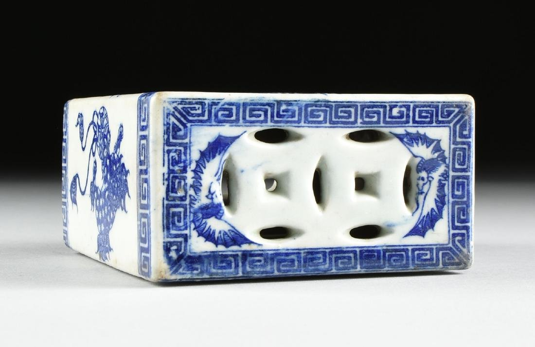 A GROUP OF TWO BLUE AND WHITE PORCELAIN OPIUM PILLOWS, - 10