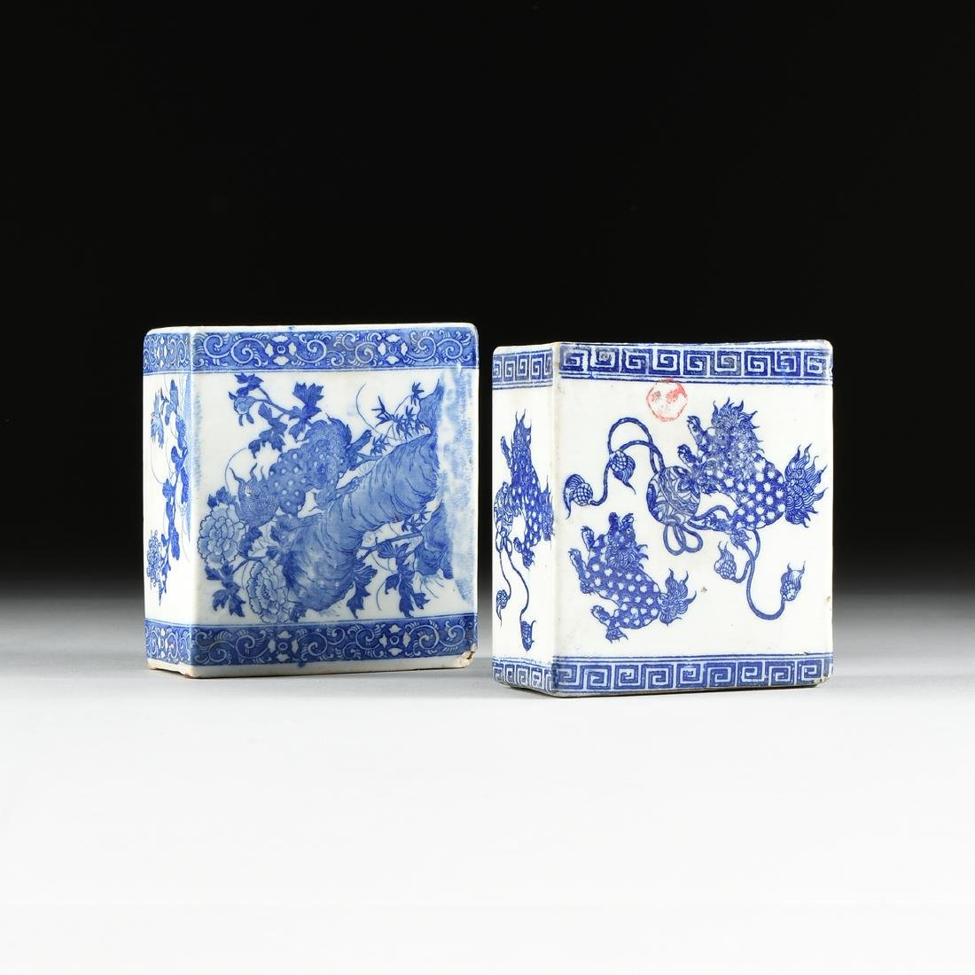 A GROUP OF TWO BLUE AND WHITE PORCELAIN OPIUM PILLOWS,