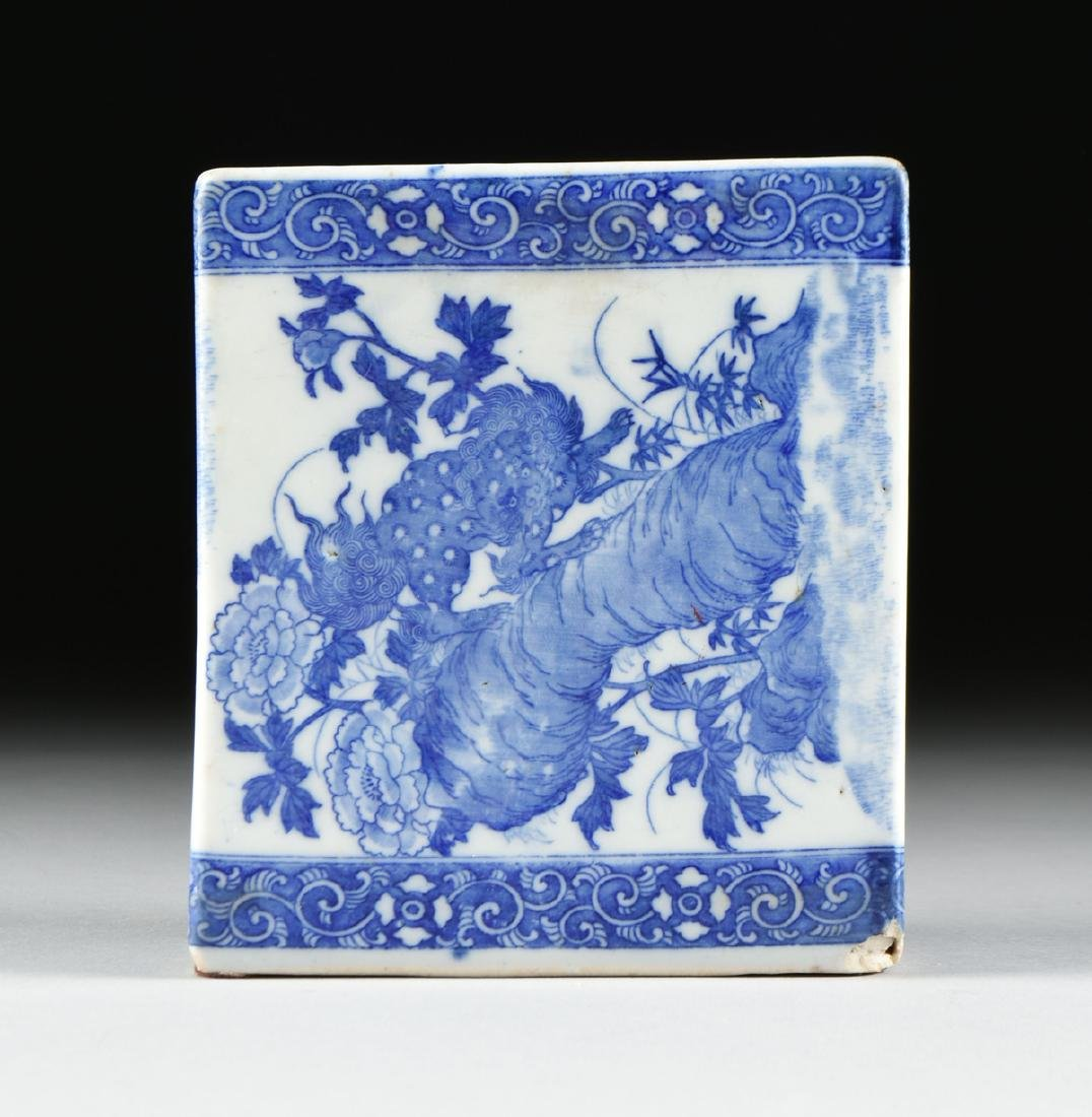 A GROUP OF TWO BLUE AND WHITE PORCELAIN OPIUM PILLOWS, - 2