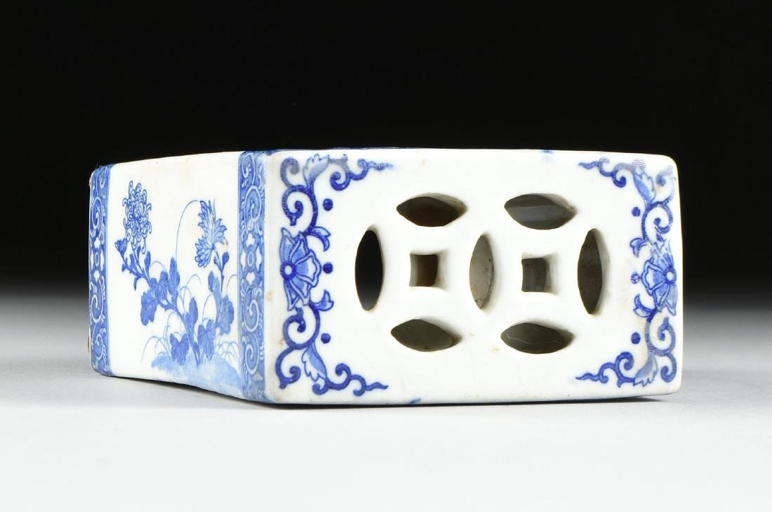 A GROUP OF TWO BLUE AND WHITE PORCELAIN OPIUM PILLOWS, - 4