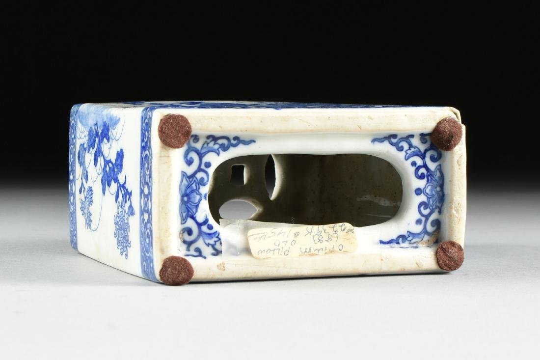 A GROUP OF TWO BLUE AND WHITE PORCELAIN OPIUM PILLOWS, - 5
