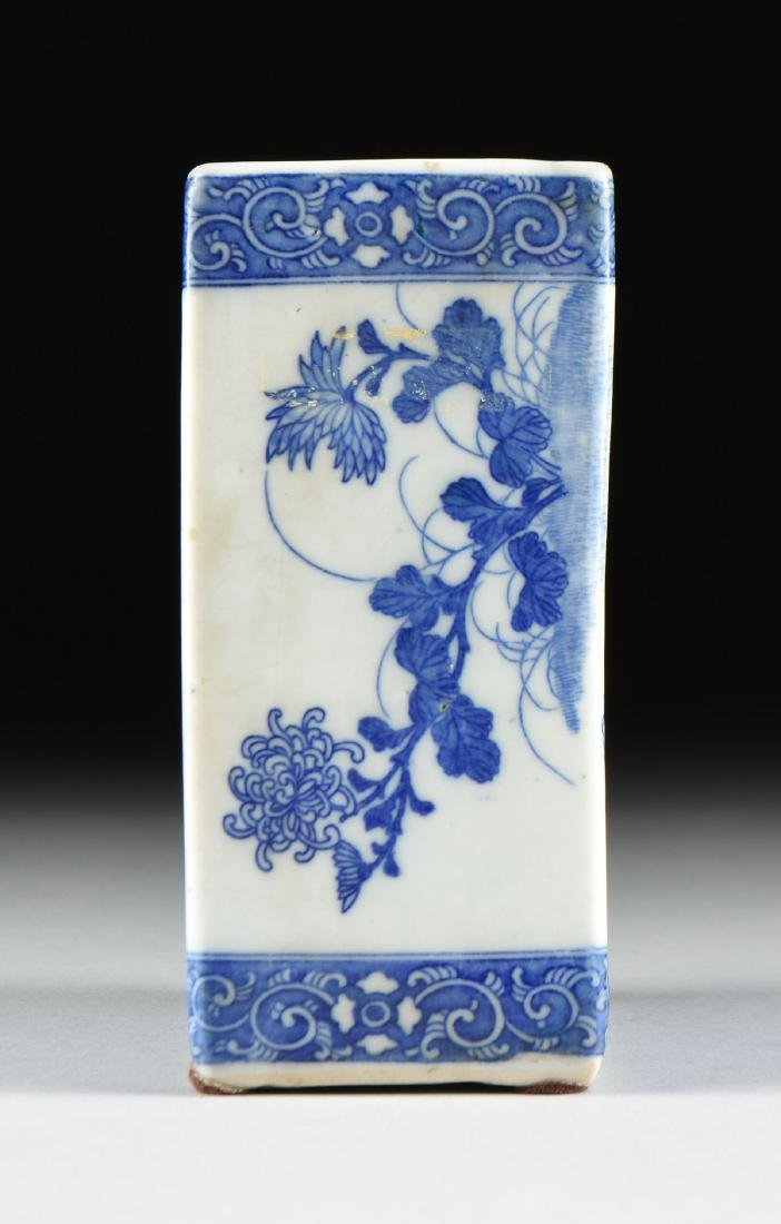 A GROUP OF TWO BLUE AND WHITE PORCELAIN OPIUM PILLOWS, - 7