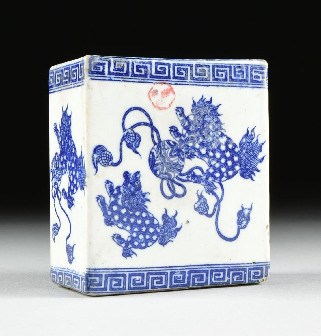A GROUP OF TWO BLUE AND WHITE PORCELAIN OPIUM PILLOWS, - 8