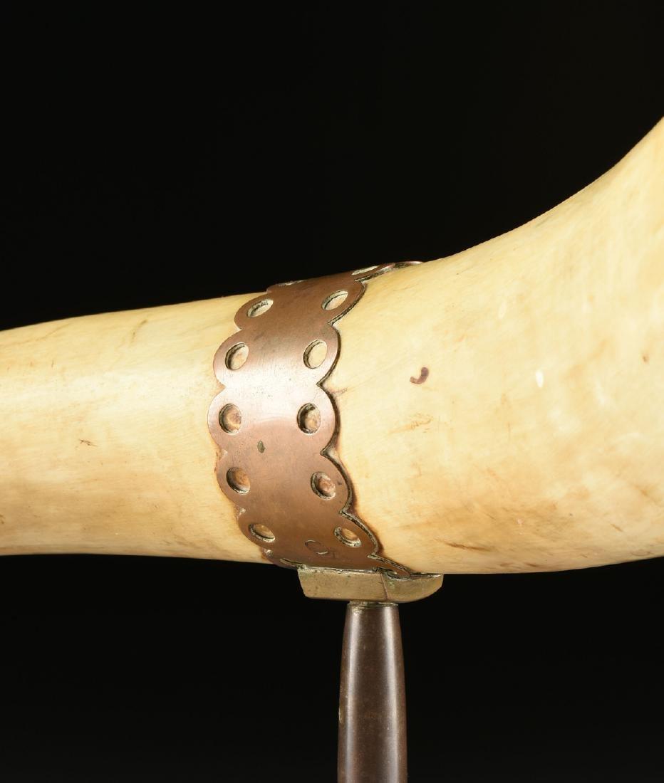 A BRONZE MOUNTED BULL HORN, CIRCA 1900, - 3