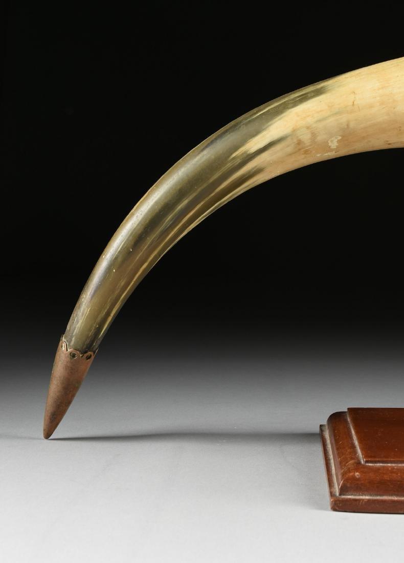 A BRONZE MOUNTED BULL HORN, CIRCA 1900, - 4