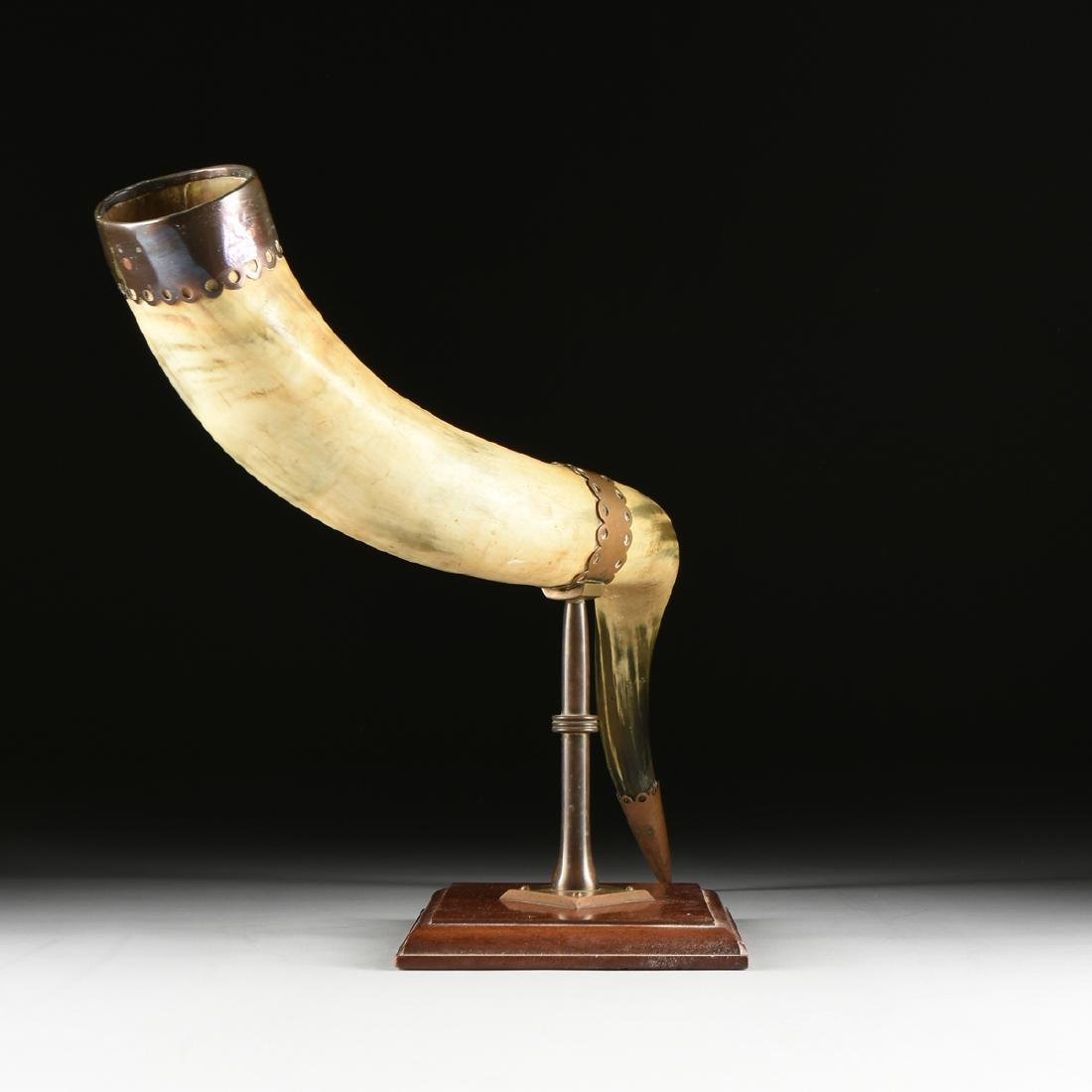 A BRONZE MOUNTED BULL HORN, CIRCA 1900, - 5