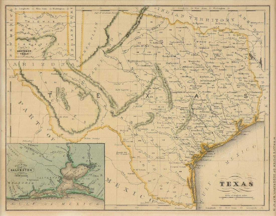 "AN ANTIQUE MAP, ""Map of Texas,"""