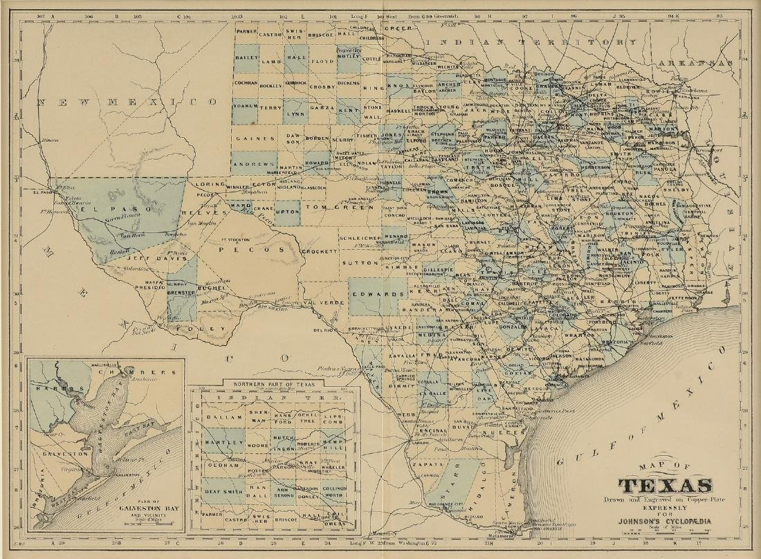 """AN ANTIQUE MAP, """"Map of Texas,"""""""
