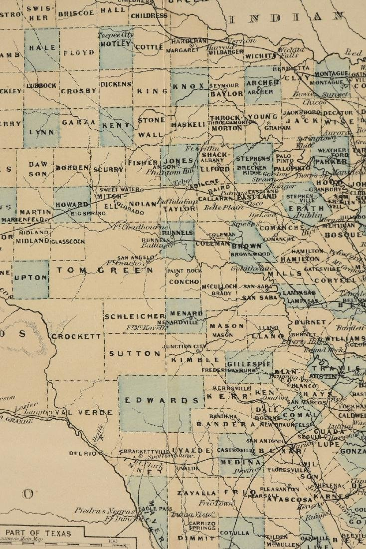 """AN ANTIQUE MAP, """"Map of Texas,"""" - 5"""