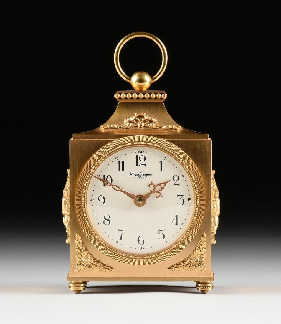 AN HOUR LAVIGNE GILT BRONZE TABLE CLOCK, SIGNED,