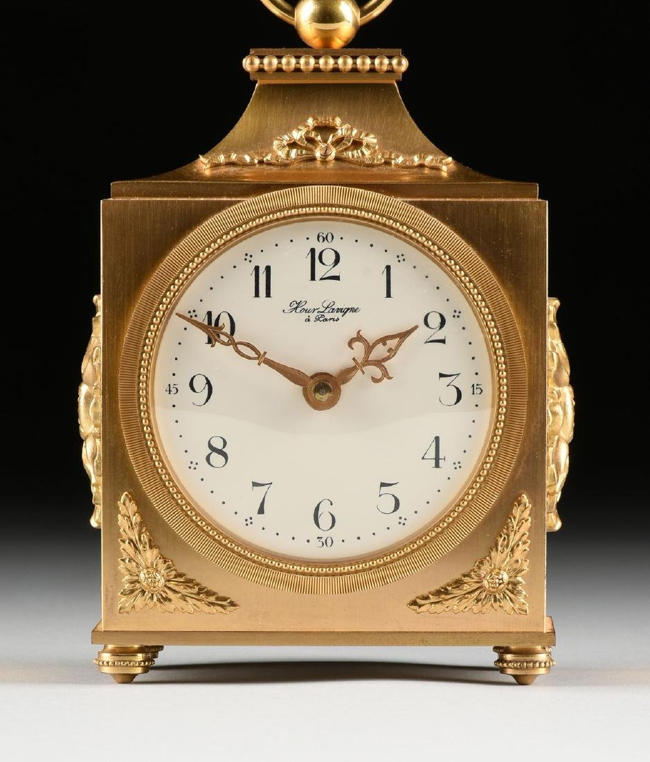 AN HOUR LAVIGNE GILT BRONZE TABLE CLOCK, SIGNED, - 2