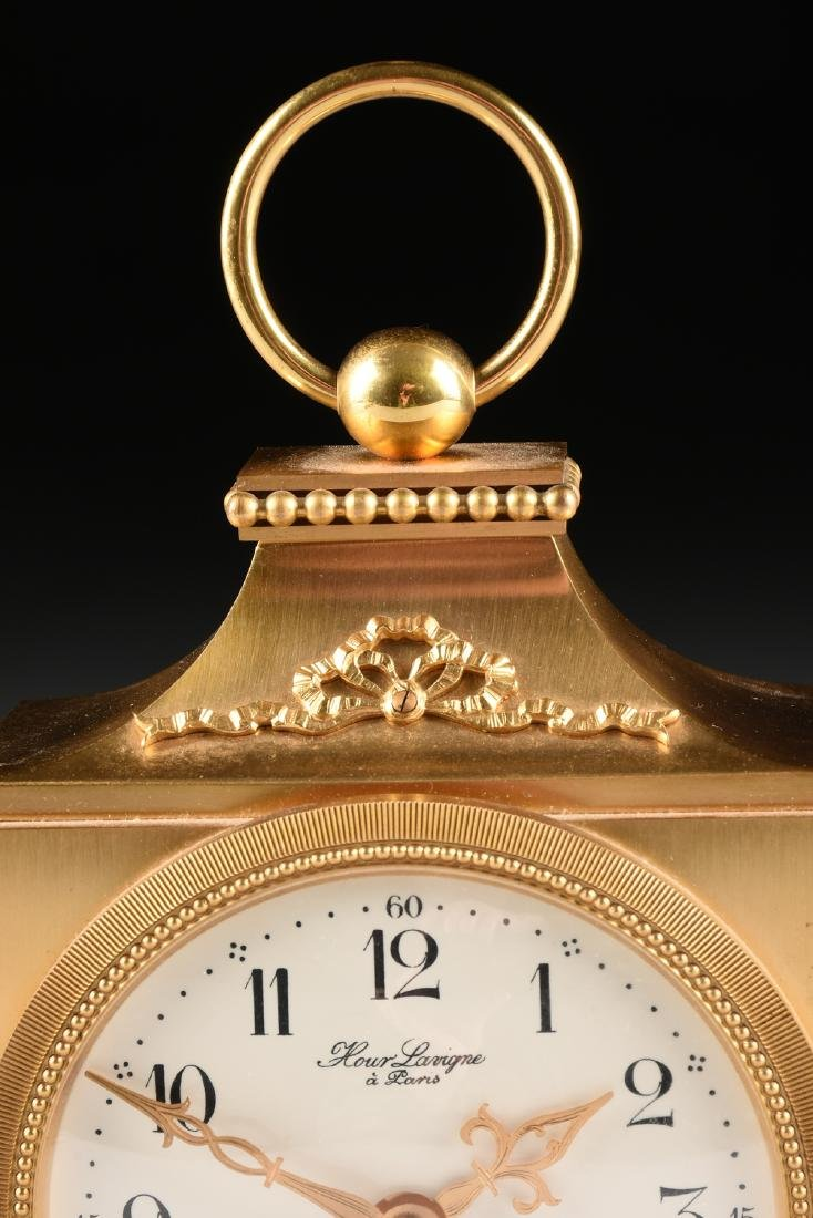AN HOUR LAVIGNE GILT BRONZE TABLE CLOCK, SIGNED, - 3