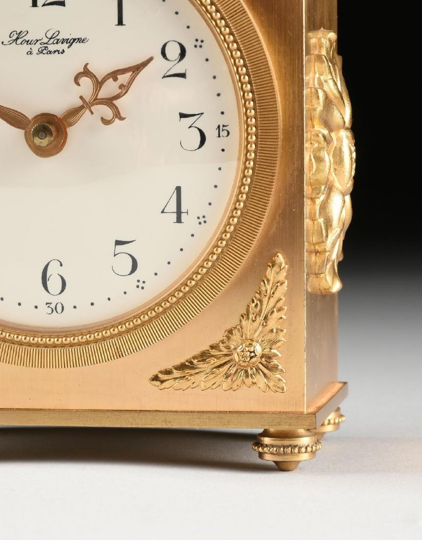 AN HOUR LAVIGNE GILT BRONZE TABLE CLOCK, SIGNED, - 4