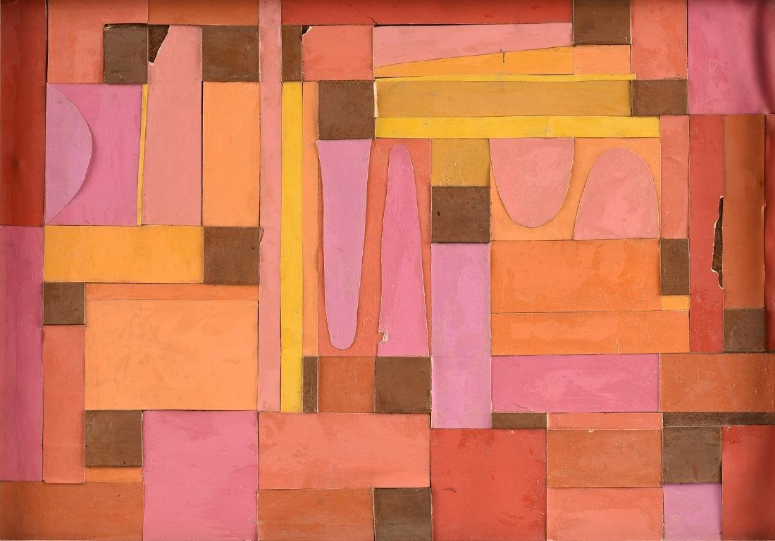 """A COLLAGE, """"Geometric Abstraction in Pink, Orange,"""