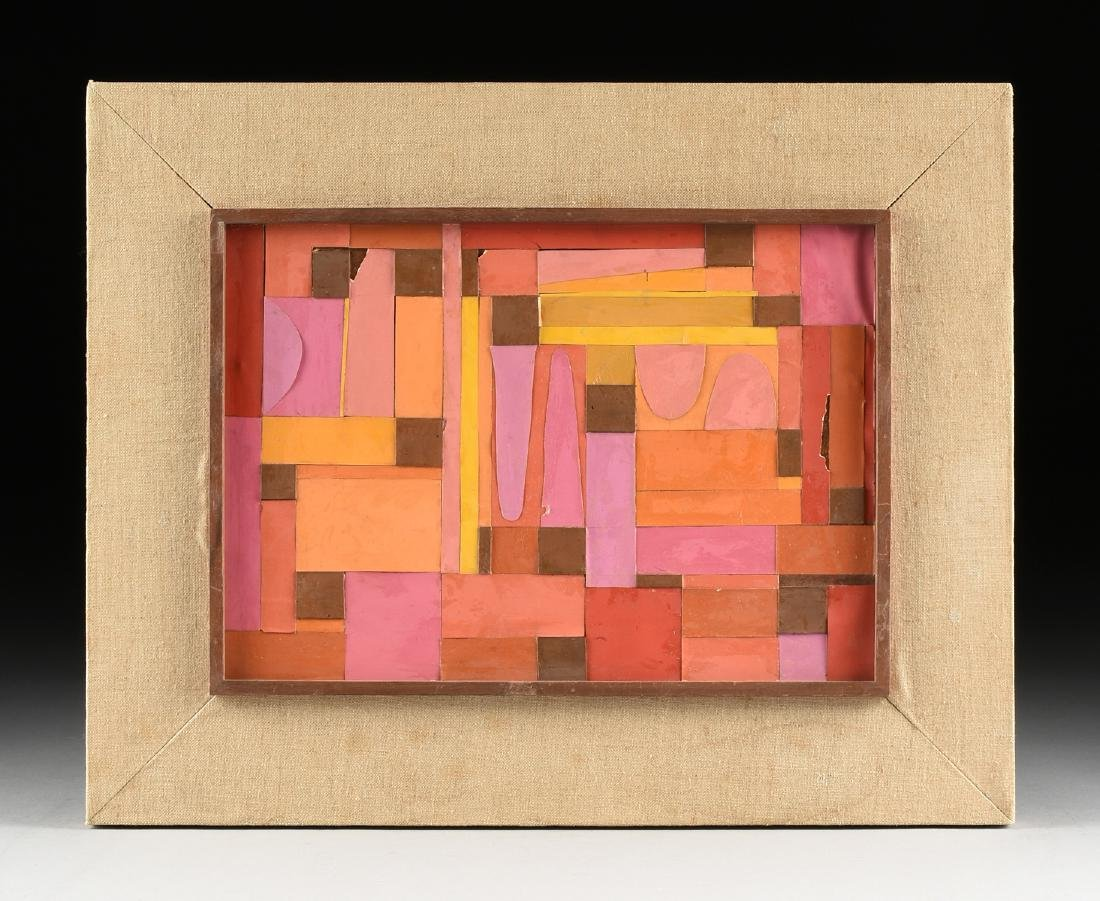 """A COLLAGE, """"Geometric Abstraction in Pink, Orange, - 2"""