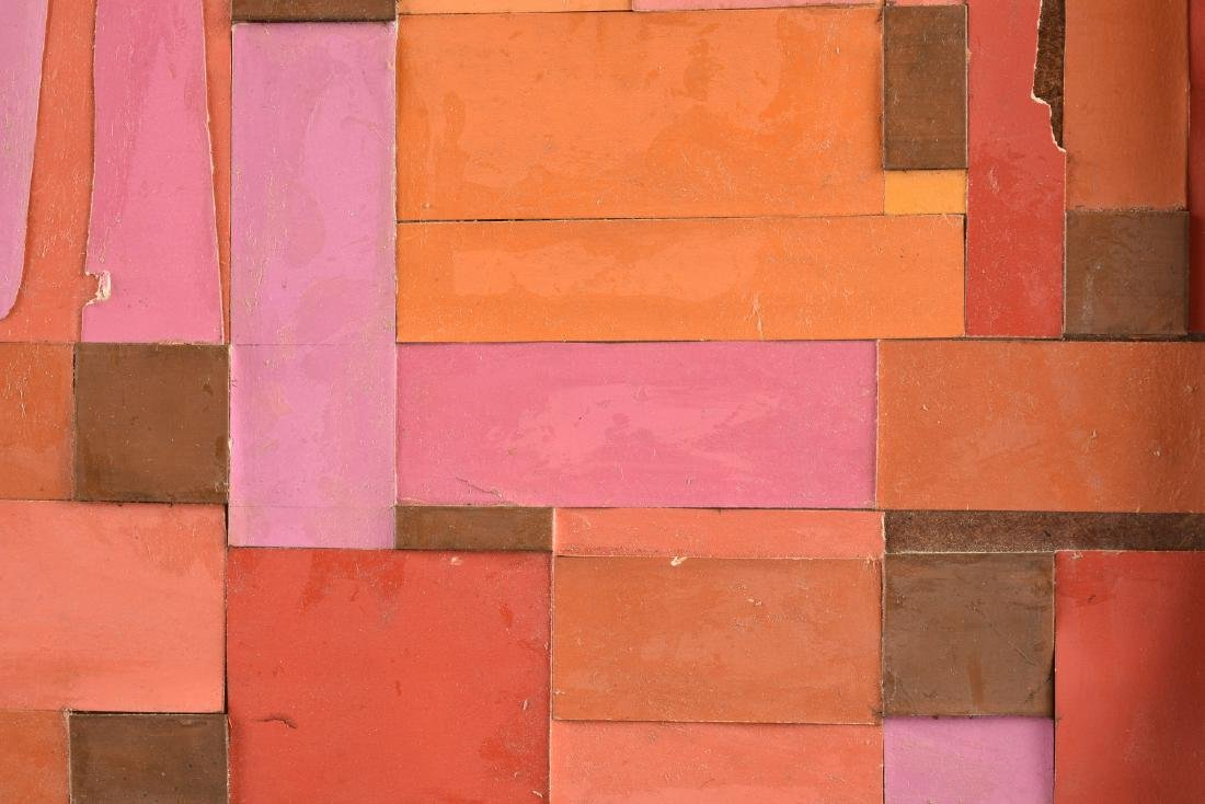 """A COLLAGE, """"Geometric Abstraction in Pink, Orange, - 3"""