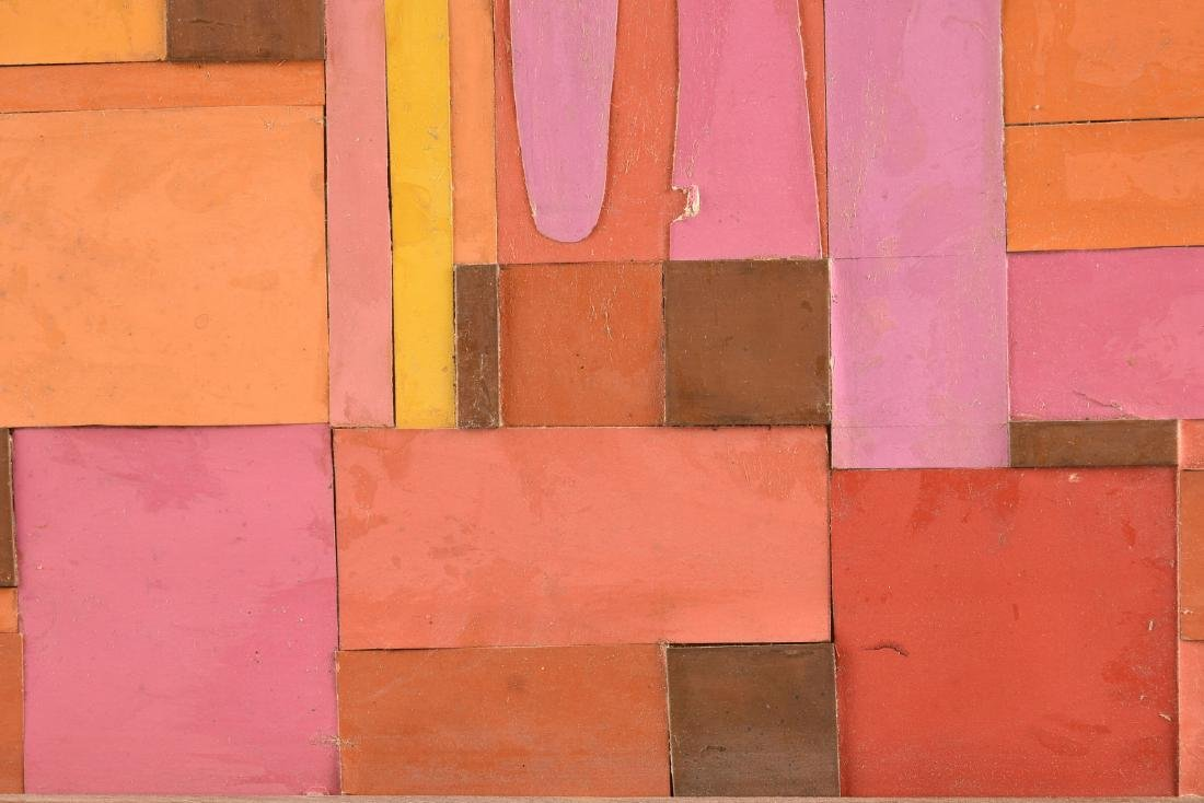 """A COLLAGE, """"Geometric Abstraction in Pink, Orange, - 4"""