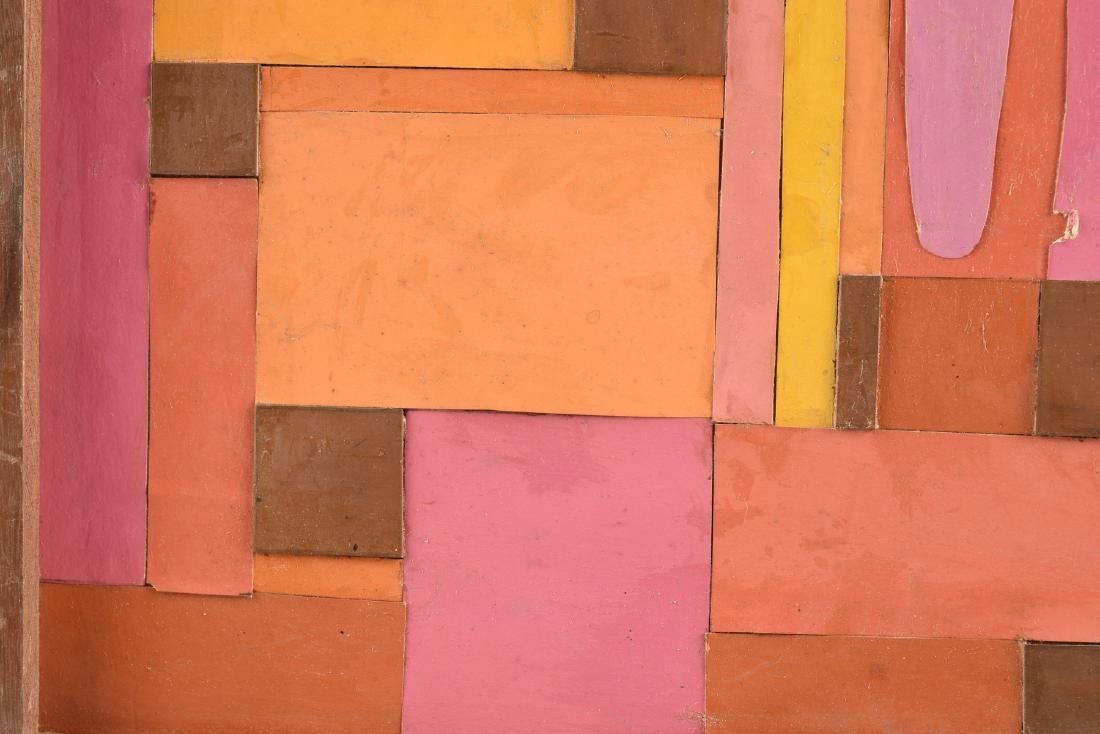 """A COLLAGE, """"Geometric Abstraction in Pink, Orange, - 5"""