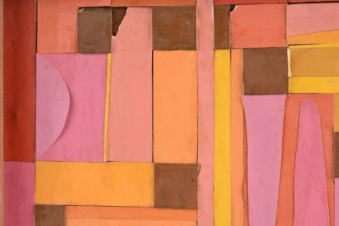 """A COLLAGE, """"Geometric Abstraction in Pink, Orange, - 6"""