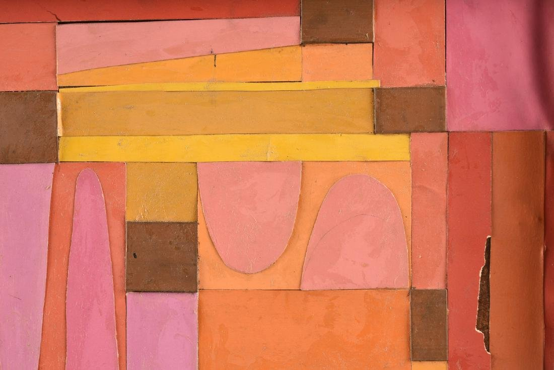 """A COLLAGE, """"Geometric Abstraction in Pink, Orange, - 7"""