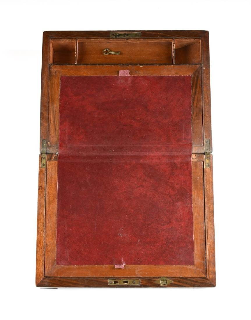 A VICTORIAN BRASS MOUNTED ROSEWOOD MAHOGANY AND WALNUT - 2