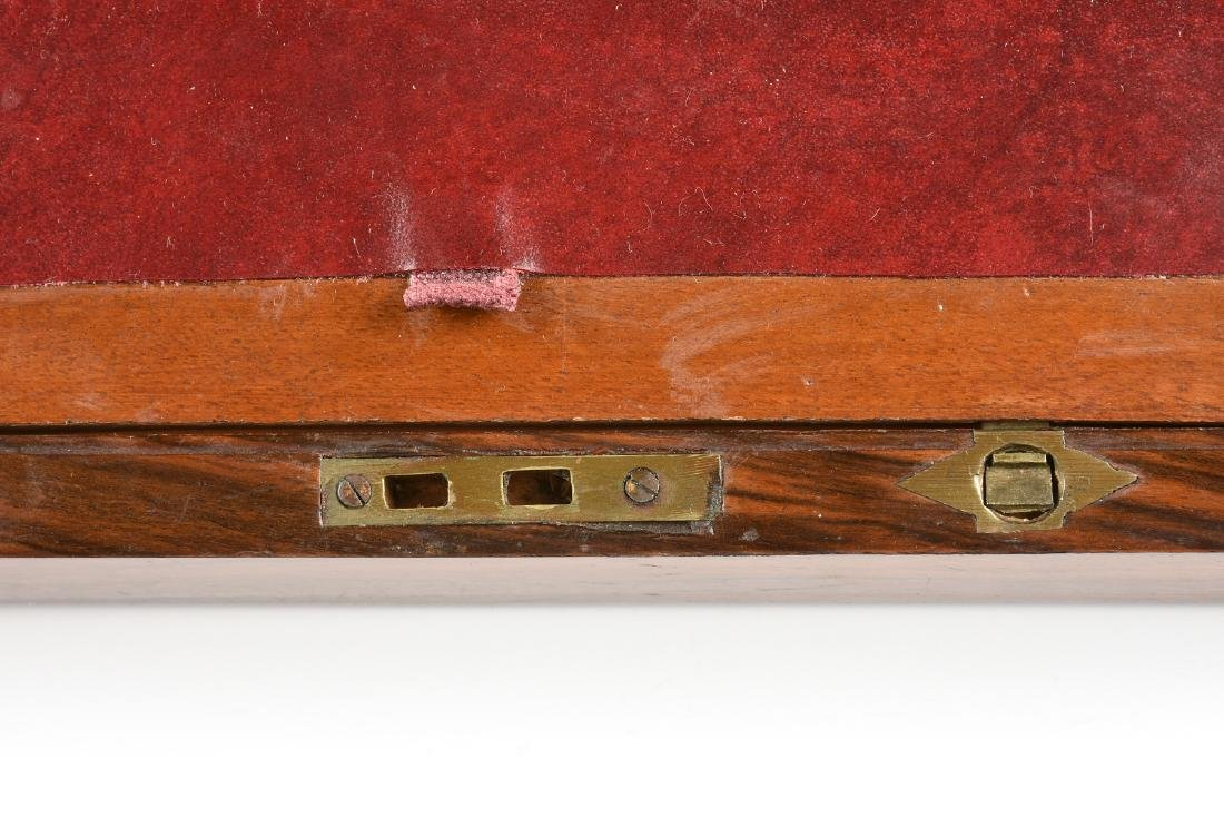 A VICTORIAN BRASS MOUNTED ROSEWOOD MAHOGANY AND WALNUT - 4