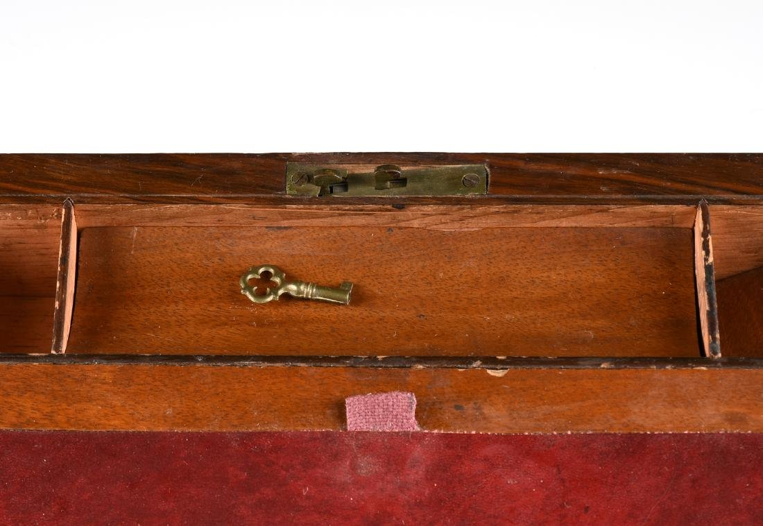 A VICTORIAN BRASS MOUNTED ROSEWOOD MAHOGANY AND WALNUT - 5