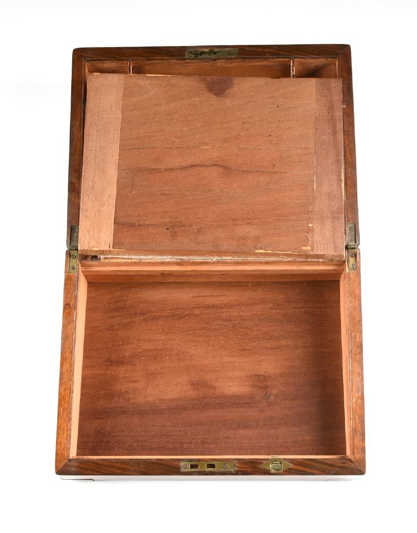 A VICTORIAN BRASS MOUNTED ROSEWOOD MAHOGANY AND WALNUT - 6