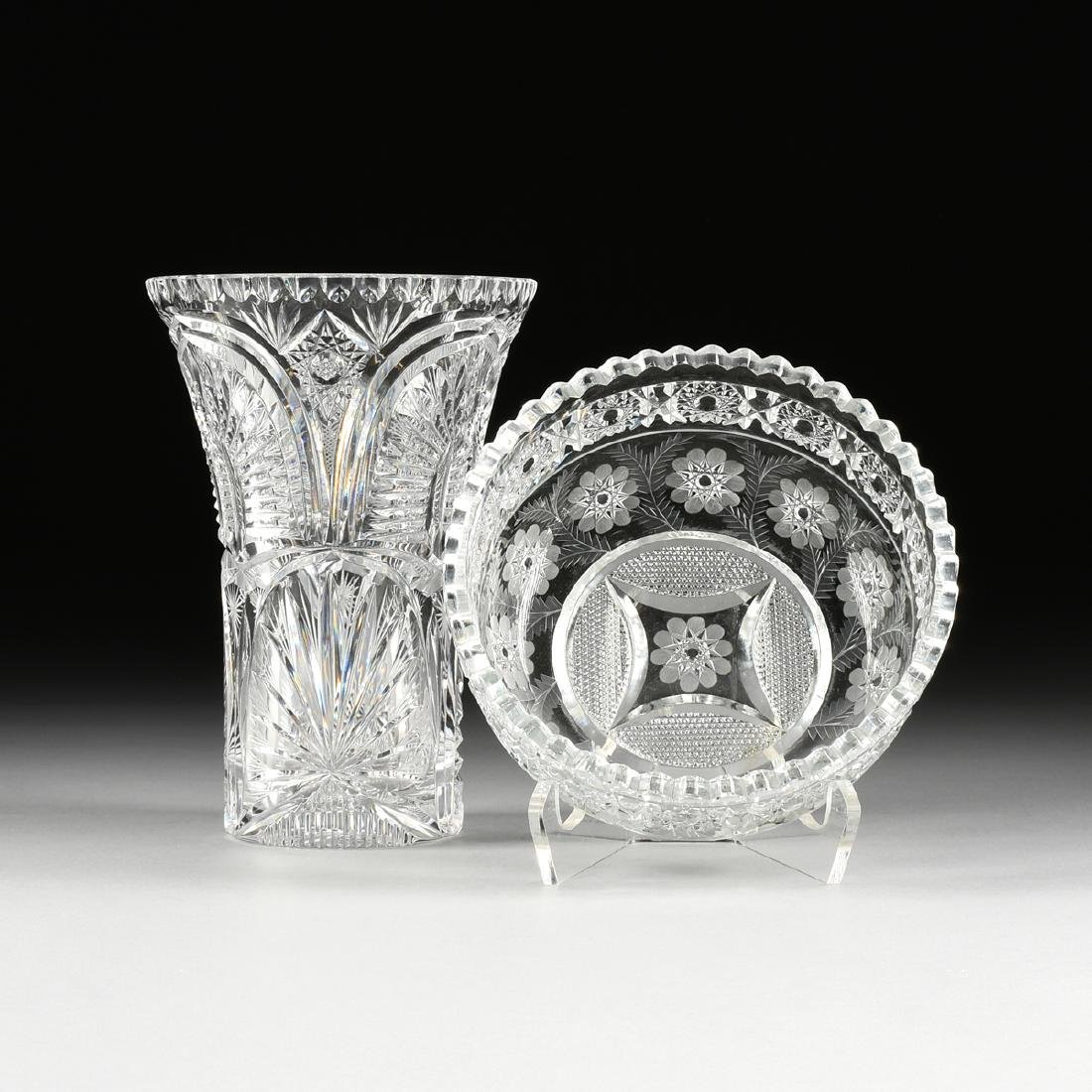 A GROUP OF TWO BRILLIANT CUT GLASS VESSELS, AMERICAN OR