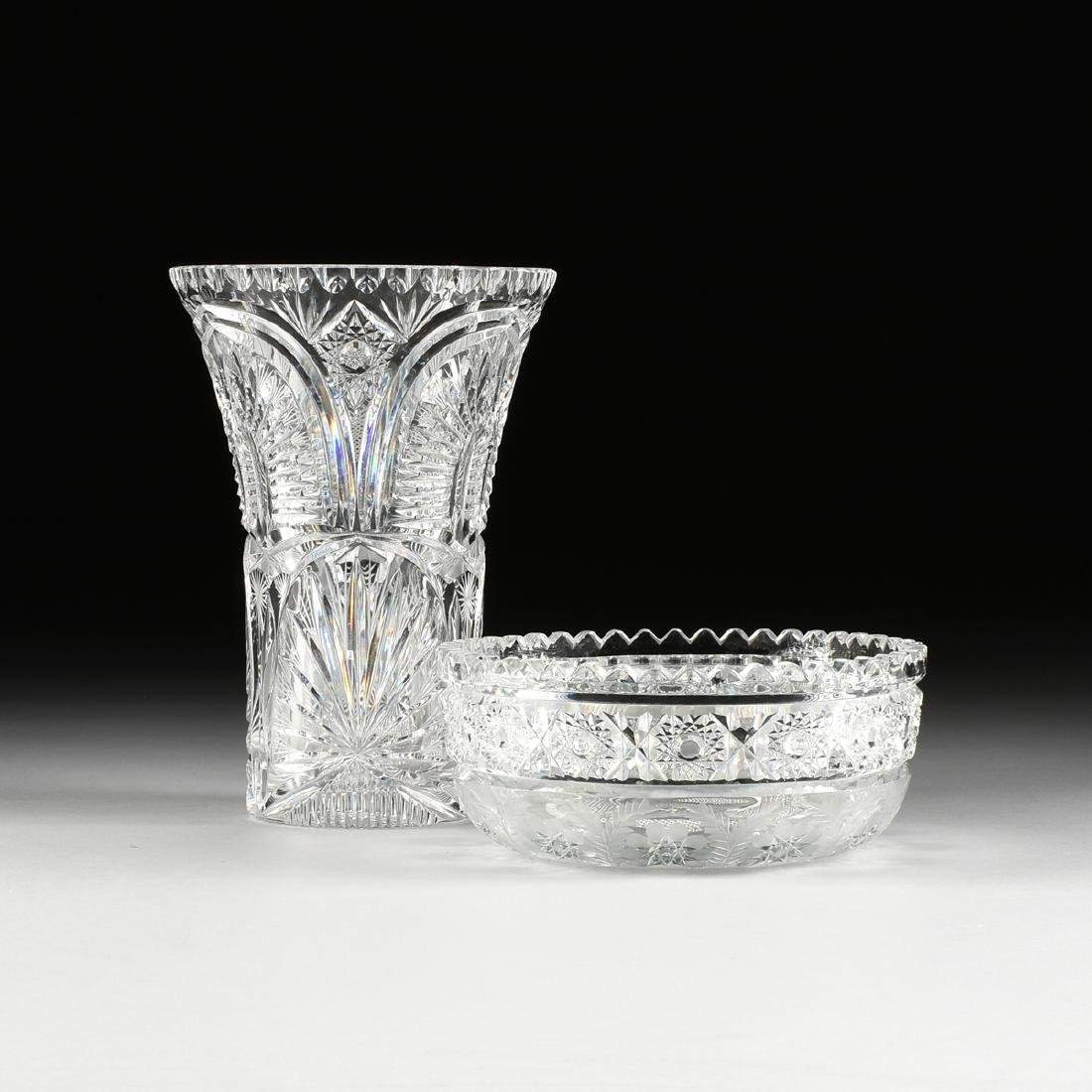 A GROUP OF TWO BRILLIANT CUT GLASS VESSELS, AMERICAN OR - 2