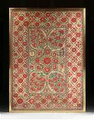 AN ANTIQUE UZBEKISTANI RED AND COLORFUL SILK