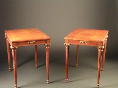 10: A PAIR OF NEOCLASSICAL STYLE walnut end tables, eac