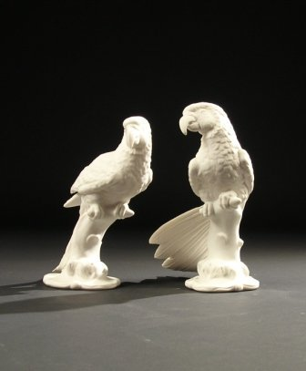 "24: A PAIR OF BOEHM SCULPTURES,"" Macaws."" Height: 8 1/4"