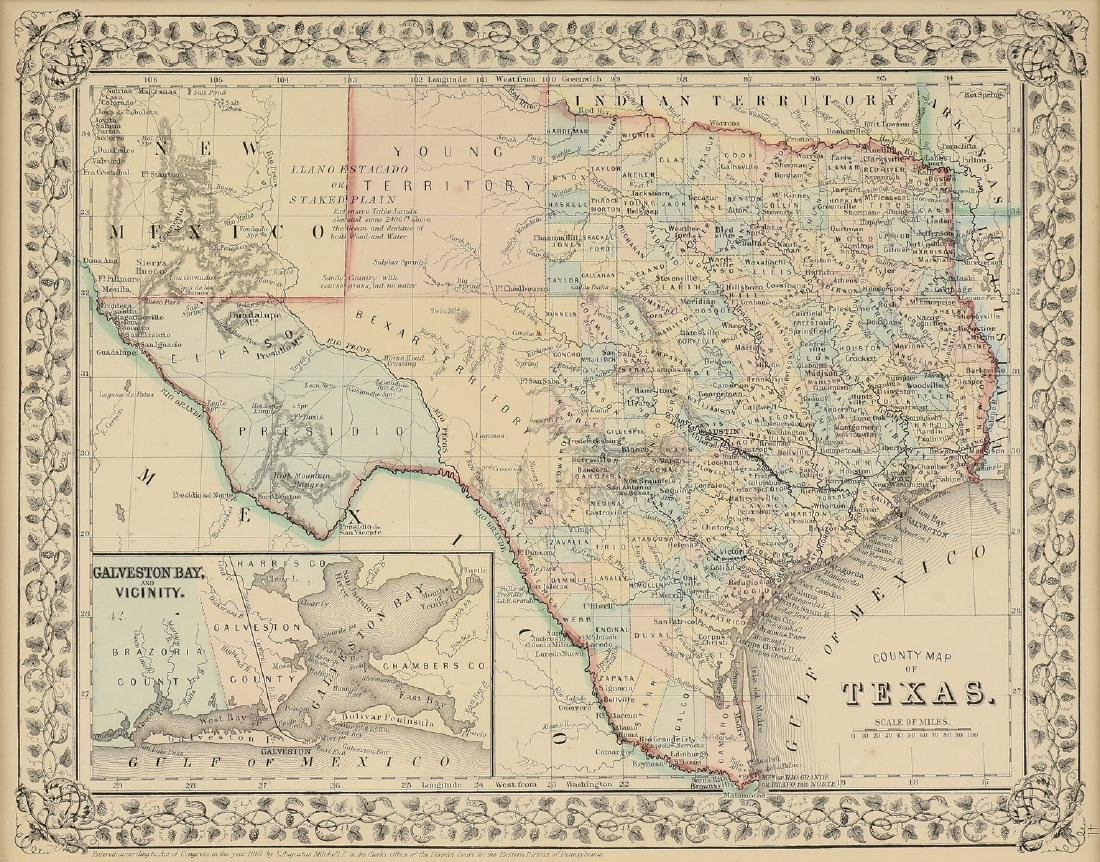 "AN ANTIQUE MAP, ""County Map of Texas,"""