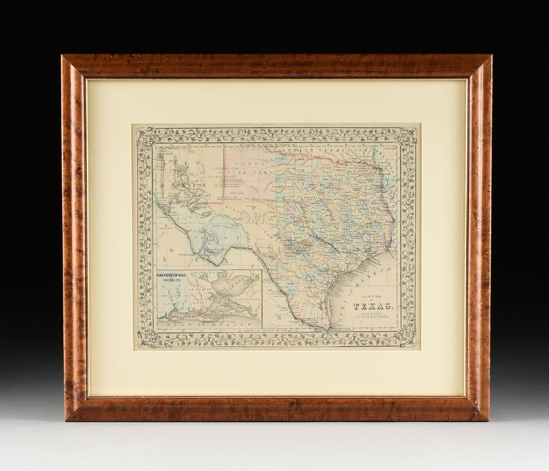 "AN ANTIQUE MAP, ""County Map of Texas,"" - 2"