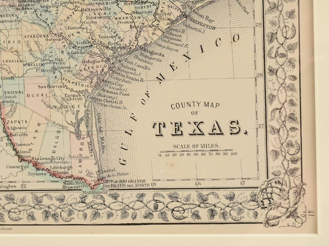 "AN ANTIQUE MAP, ""County Map of Texas,"" - 4"