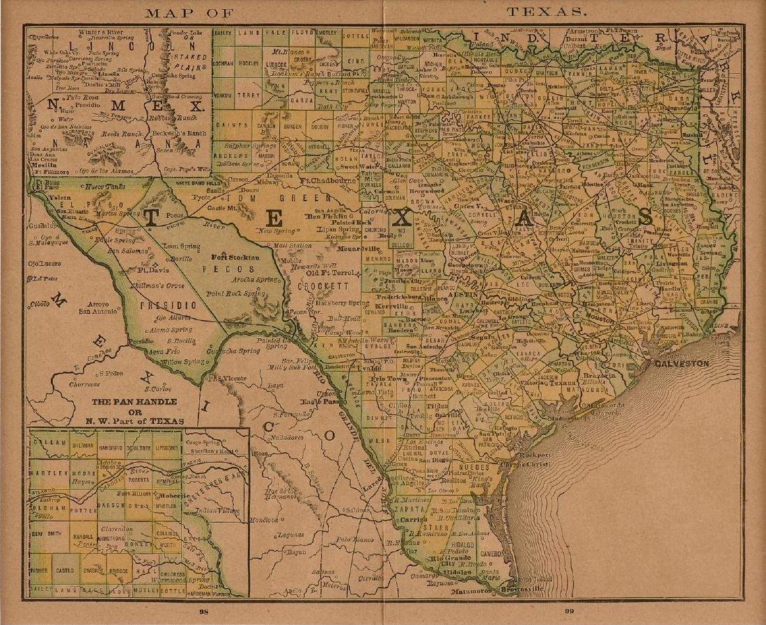 """AN ANTIQUE MAP, """"Map of Texas,"""" LATE 19TH/EARLY 20TH"""