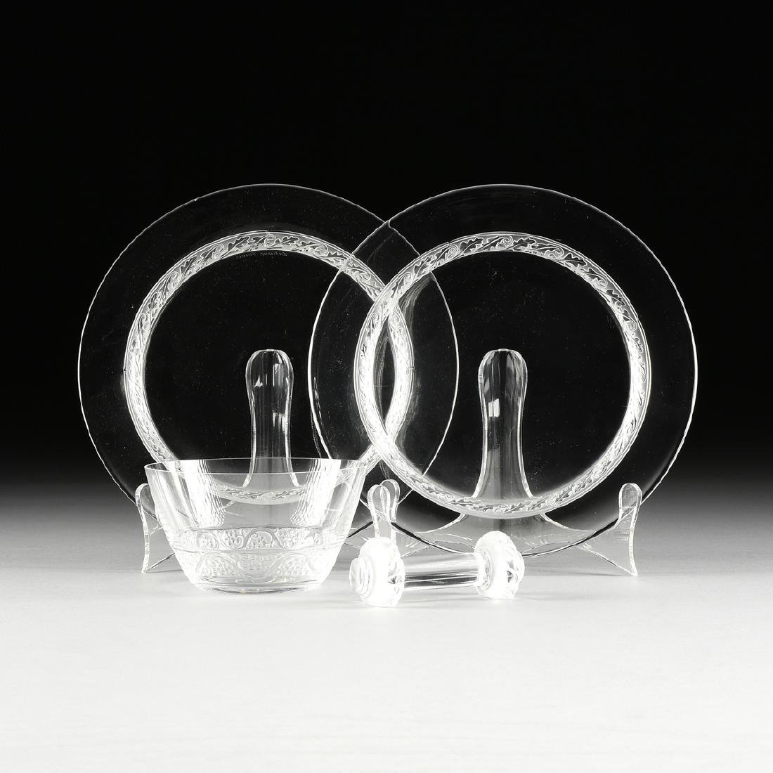 A GROUP OF FOUR LALIQUE CLEAR AND FROSTED GLASS TABLE
