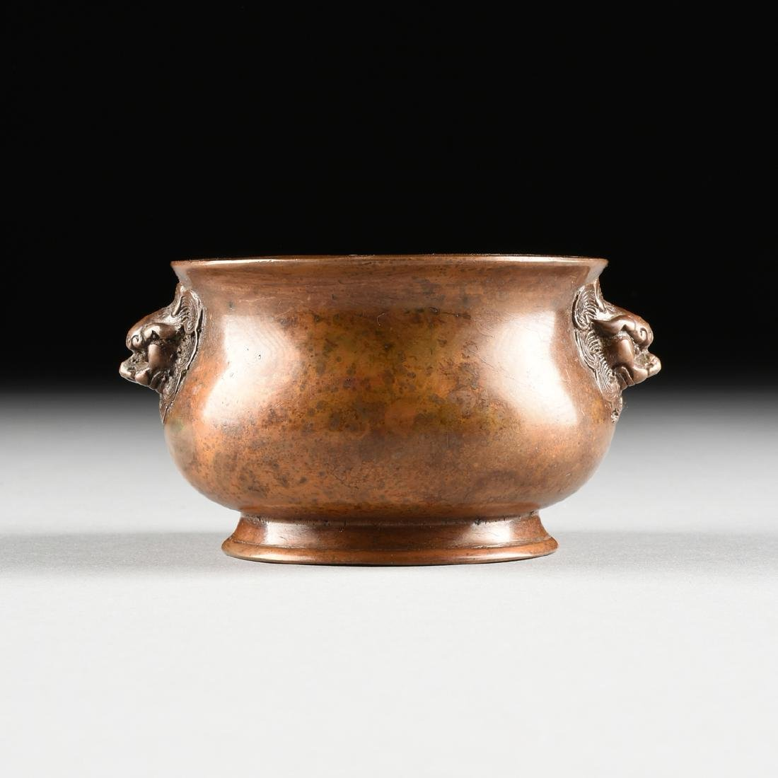 A SMALL CHINESE ARCHAISTIC STYLE BRONZE CENSER, SQUARE - 2