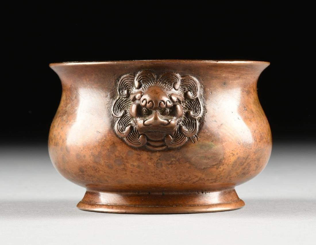 A SMALL CHINESE ARCHAISTIC STYLE BRONZE CENSER, SQUARE - 4