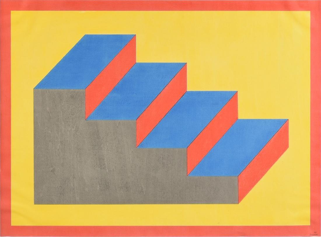 """AN OP ART STYLE SILKSCREEN PRINT, """"Descending Stairs,"""""""